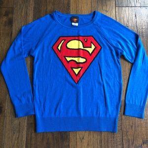 Superman Ladies Crew neck long sleeve sweater.
